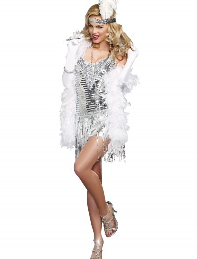 Women's Life of the Party Silver Flapper Costume buy now