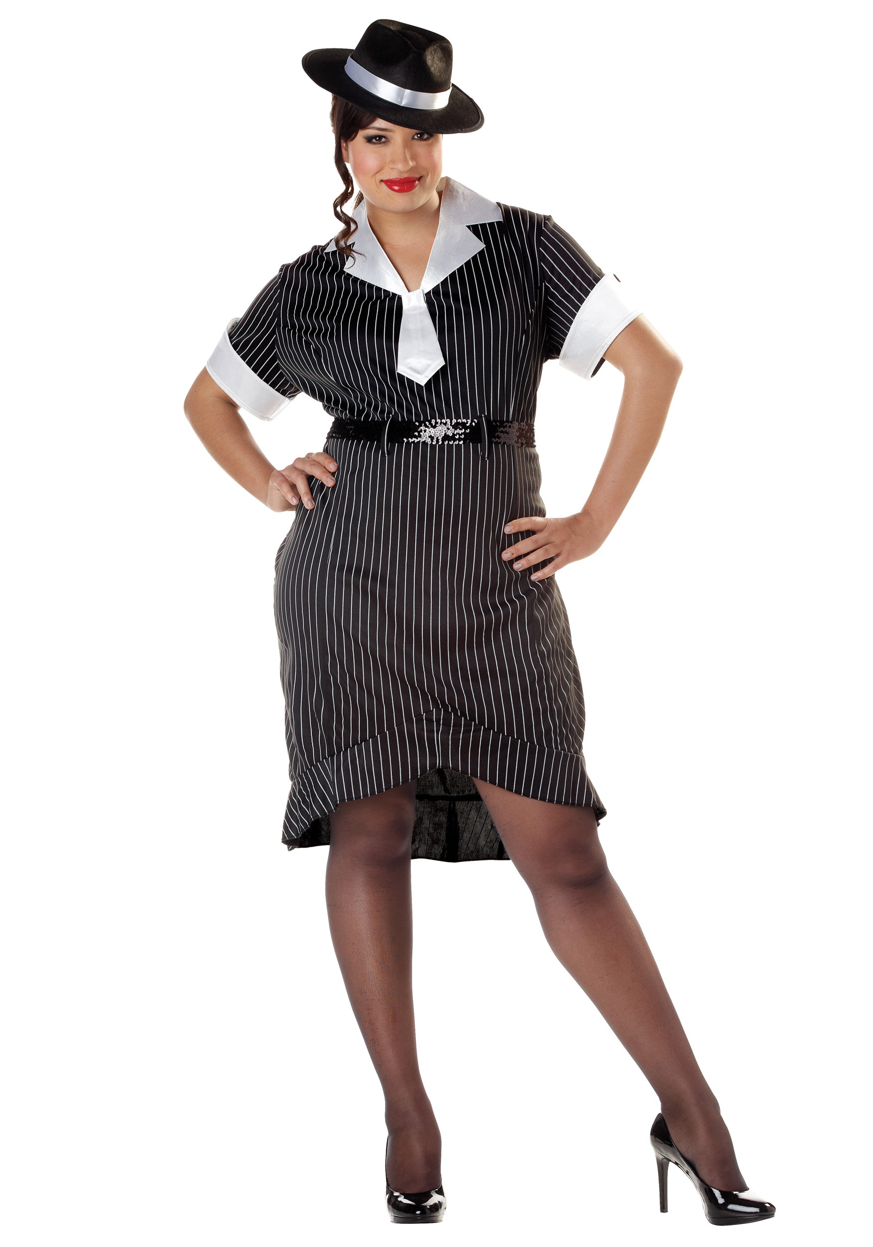 Womenu0027s Plus Size Flirty Gangster Costume  sc 1 st  Halloween Costumes : gangster woman costume  - Germanpascual.Com