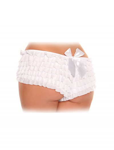 Womens Plus Size White Ruffled Panties buy now