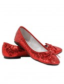 Women's Red Glitter Flats buy now