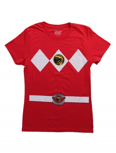 Womens Red Power Ranger Costume T-Shirt buy now