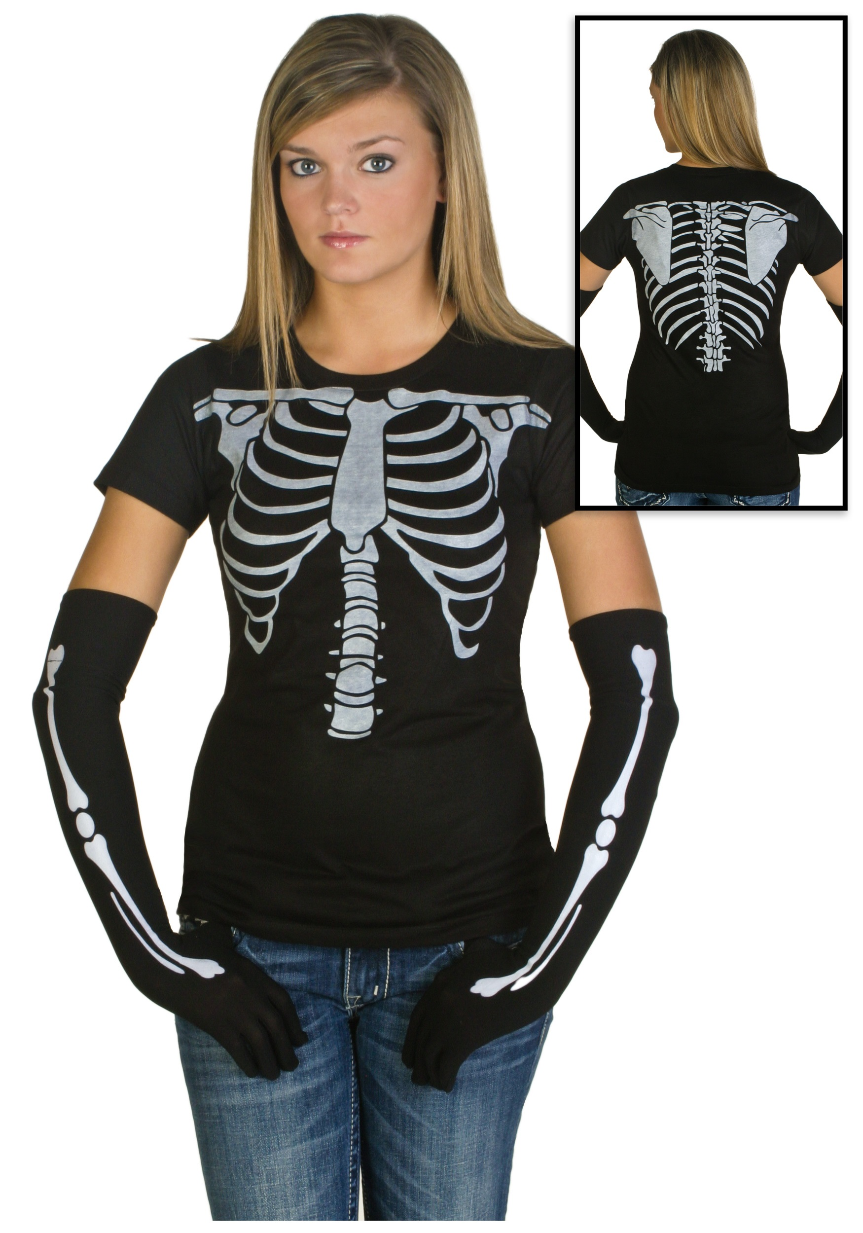 Womens skeleton costume t shirt halloween costumes for Costume t shirts online