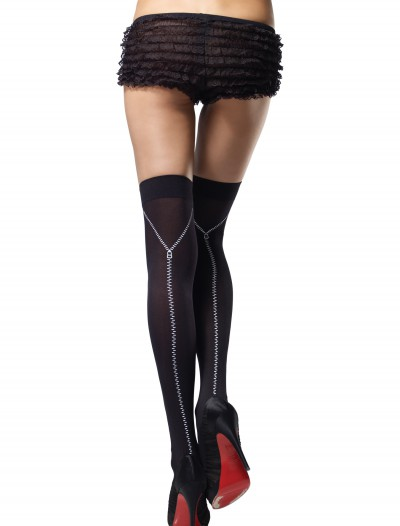 Zipper Print Thigh High Stockings buy now