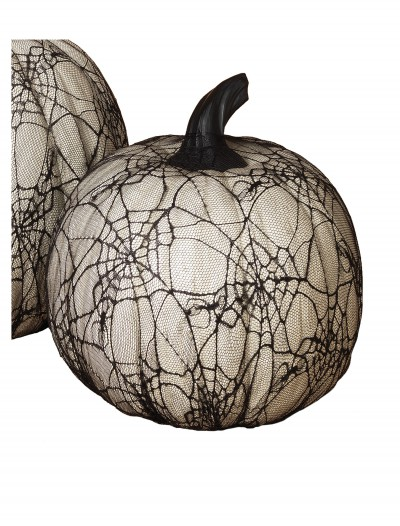 11.4 Inch White Resin Halloween Pumpkin with Spider Web Lace buy now