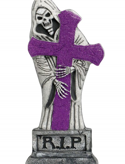 24 inch Purple Glitter Light-Up Grave Stone buy now