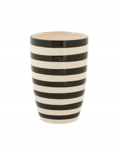 7.5 Inch Black and White Ceramic Striped Pot buy now