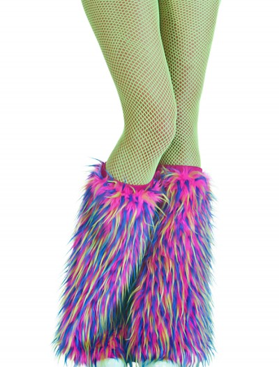 Adult Multicolor Furry Boot Covers buy now