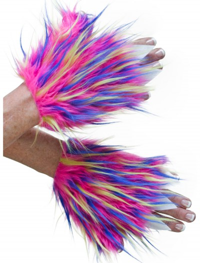 Adult Multicolor Furry Hand Covers buy now