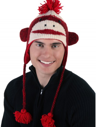 Adult Red Cute Sock Monkey Hat buy now