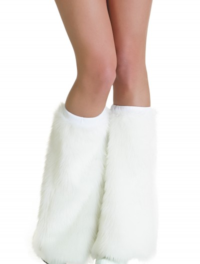 Adult White Furry Boot Covers buy now