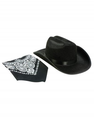 Black Cowboy Hat and Bandana Set buy now