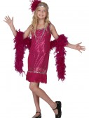 Child Fuchsia Sequin and Fringe Flapper Costume buy now