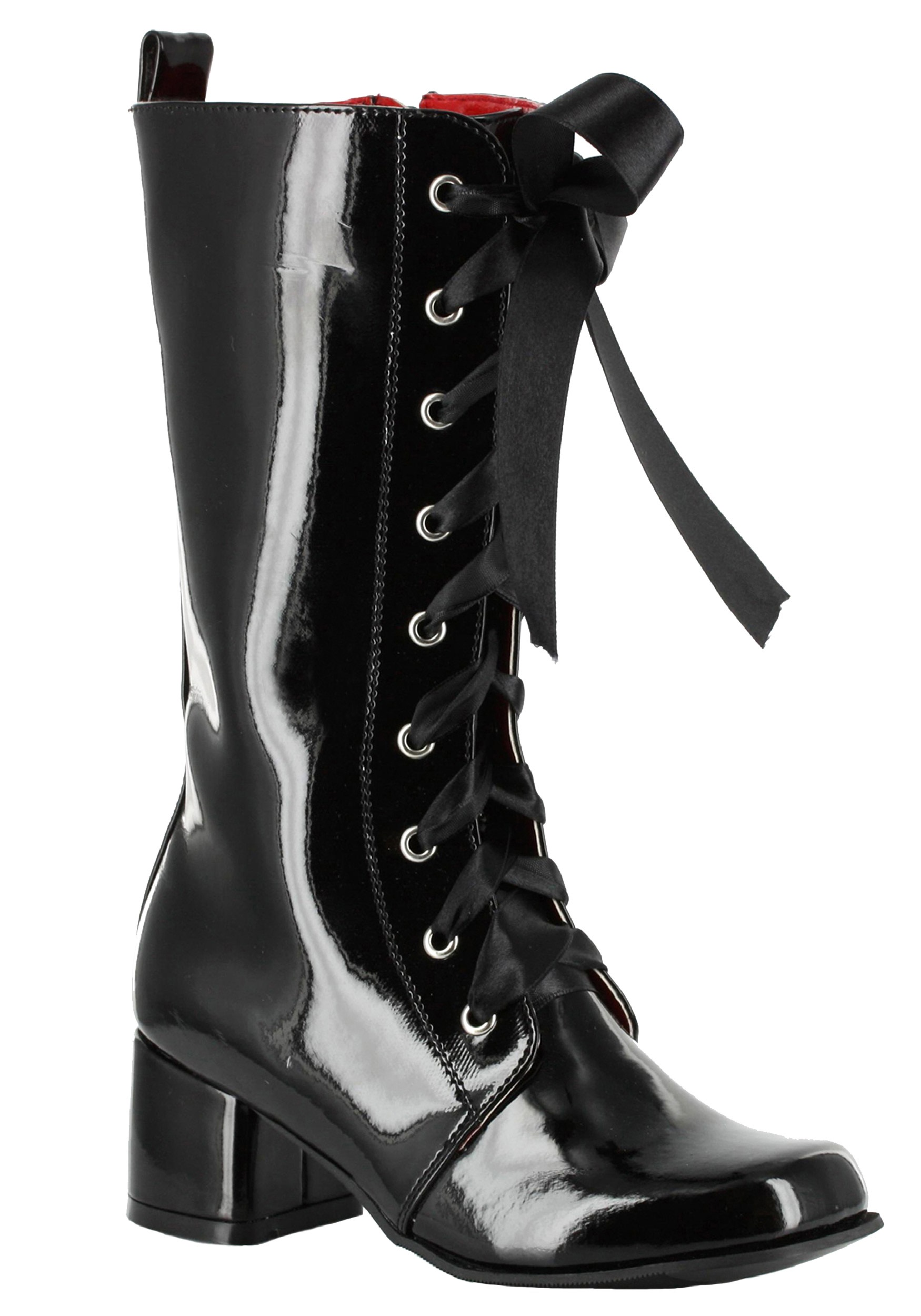 Girls Black Lace Up Gogo Boots