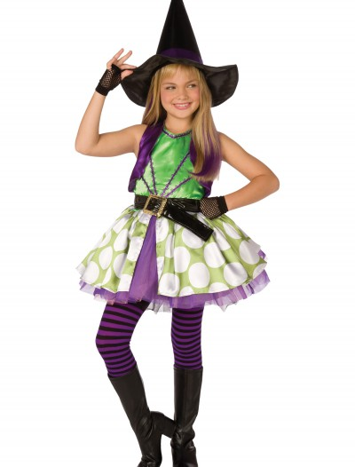 Girls Green Polka Dot Witch Costume buy now