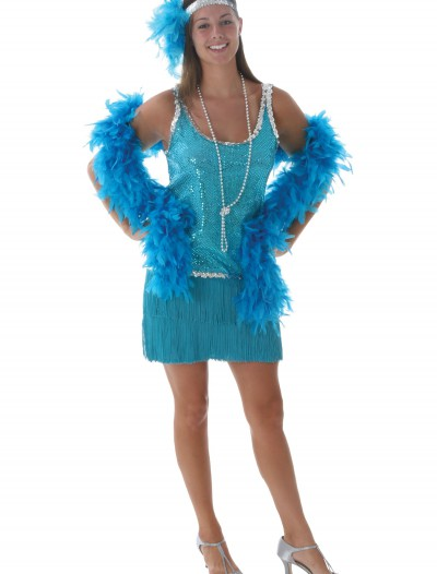 Plus Sequin & Fringe Turquoise Flapper buy now