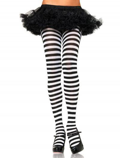 Plus Size Black / White Striped Tights buy now