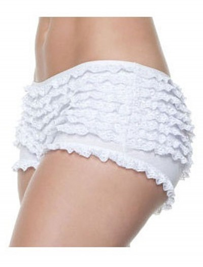 Plus Size White Ruffle Boy Shorts buy now