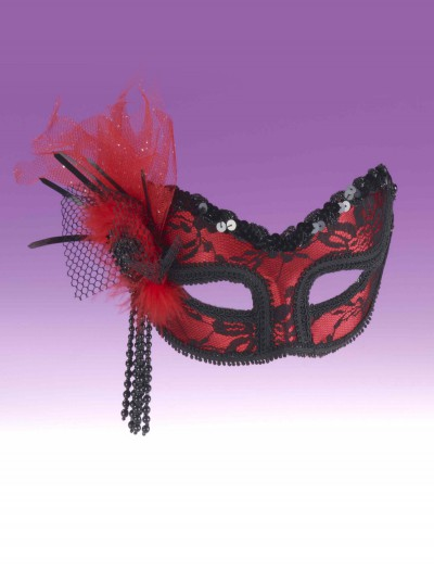 Red Black Lace Half Mask buy now