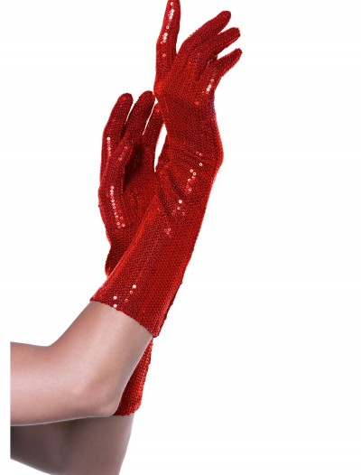 Red Sequin Elbow Length Gloves buy now